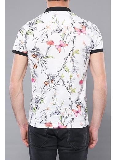 Wessi Erkek Slim Fit Polo Yaka Çiçek Desenli Tişört Krem